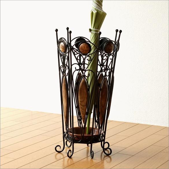 傘立て 傘たて 傘立 木製 アンティーク おしゃれ アイアンとウッドの傘立て A【送料無料】