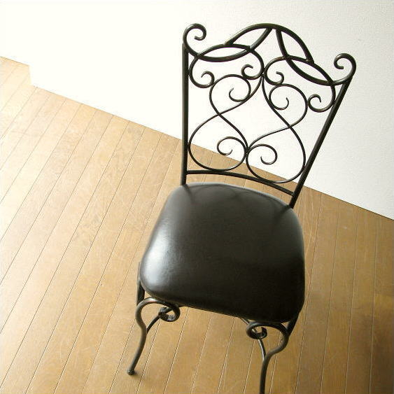 アイアンチェア 椅子 アンティーク風 アイアンとレザーのイス【送料無料】