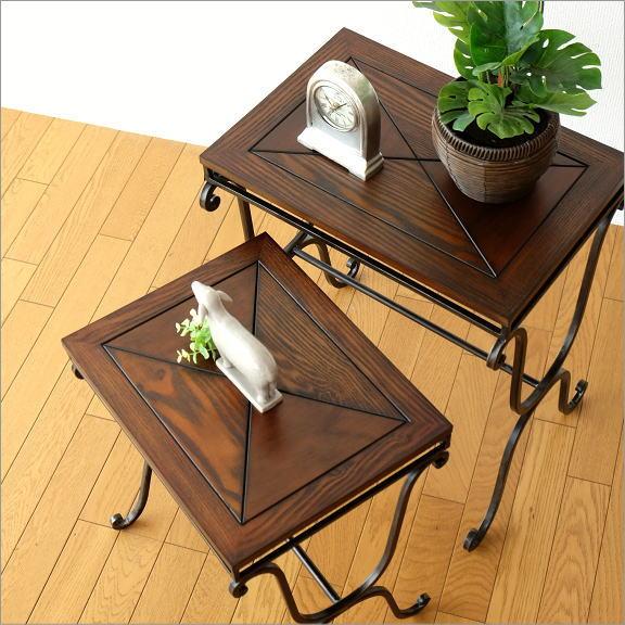 サイドテーブル 木製 おしゃれ アンティーク 花台 ウッドネストテーブル 2サイズセット 【送料無料】 [kwb9002]