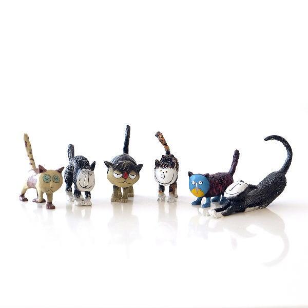 猫 置物 セット おしゃれ 玄関 卓上 オブジェ かわいい インテリア ユニークなネコの置物6個セット [kwb9659]