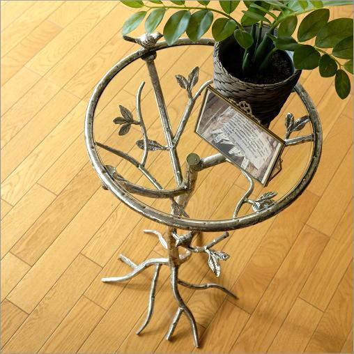 ガラステーブル サイドテーブル ベッドサイドテーブル 花台 アイアンとガラスのテーブル バード【送料無料】