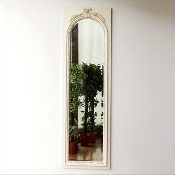 鏡 壁掛け アンティークホワイトのロングミラー