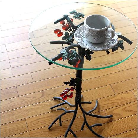 サイドテーブル 丸テーブル ガラステーブル コーヒーテーブル 花台 アイアンとガラスのテーブル グレープ【送料無料】