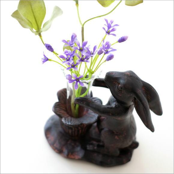 花瓶 ガラス フラワーベース おしゃれ うさぎ ウサギ 置物 雑貨 レトロラビットの一輪挿し