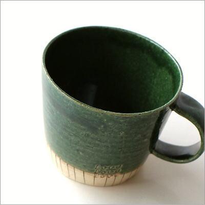 マグカップ 織部 陶器 美濃焼 コーヒーカップ おしゃれ 可愛い グリーンマグ