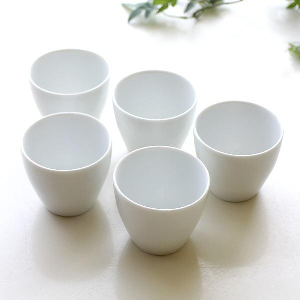 湯呑み おしゃれ 陶器 美濃焼き 白 日本製 湯飲み 和食器 焼き物 湯のみ 和風 白磁ゆのみ カノン5コセット [kyt6007]