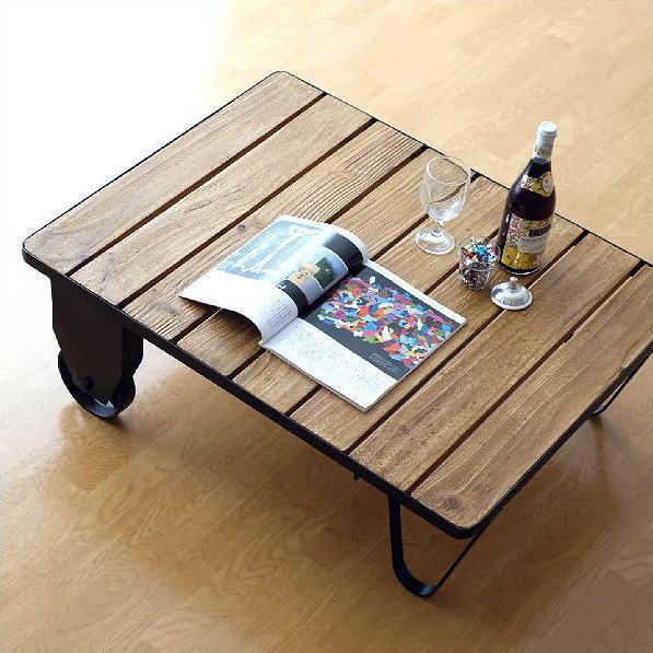 ローテーブル アイアン 幅90 高さ30 アンティーク 木製 カフェテーブル 低い コンパクト おしゃれ 車輪 レトロ アイアンとウッドのコーヒーテーブル 【送料無料】 [lon3706]