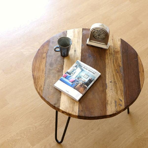シャビーな寄木のラウンドテーブル 【送料無料】 [lon7389]