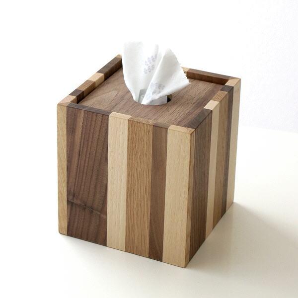 ティッシュケース おしゃれ 木製 ティッシュボックス ティッシュカバー シンプル ストライプ かわいい ウッドRペーパーボックスティッシュケース [map2397]