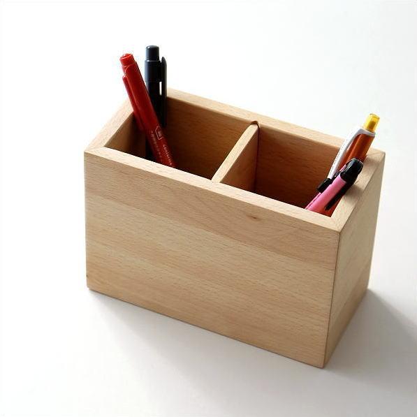 ペン立て 木製 ペンスタンド おしゃれ ペンたて 天然木 無垢 仕切り 木目 シンプル かわいい 鉛筆立て リモコンスタンド メガネスタンド ウッドペン立て ビーチ [map2753]