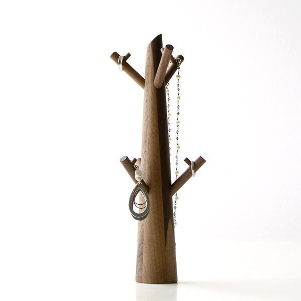アクセサリースタンド ツリー おしゃれ かわいい 木製 ウッド ウォルナット ネックレス イヤリング アクセサリーツリー ウォルナット [map3168]