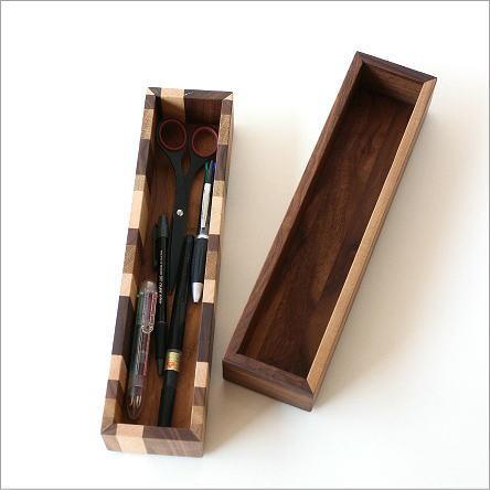 ロングボックス 小物入れ 木製 天然木 ペンケース カトラリケース ペンボックス カトラリーボックス 箸入れ 卓上 収納ボックス ウッドロングボックス 2タイプ