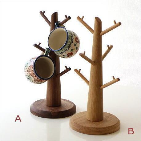 カップスタンド ツリー 木 マグカップ コーヒーカップ スタンド 木製 天然木 無垢材 ウォールナット/オーク ウッドカップツリー 2タイプ [map3510]