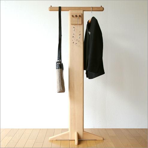 ハンガーラック 木製 おしゃれ コートハンガー コート掛け ポールスタンド 天然木 ナチュラルウッドのフック付きハンガー【送料無料】