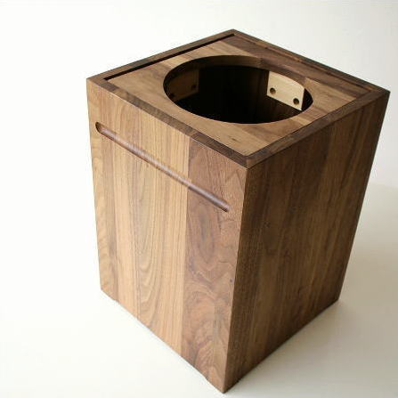 ゴミ箱 ごみ箱 木製 おしゃれ デザイン インテリア 天然木 ナチュラルウッドのスクエアダストボックス【送料無料】