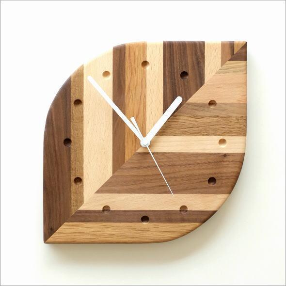 掛け時計 木製 天然木 ウォールクロック ナチュラル かわいい おしゃれ ウッドウォールクロック モザイクリーフ
