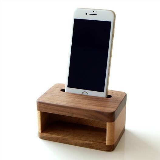 スマホスピーカー スマートフォンスピーカー 木製 スマホスタンド 充電しながら 置くだけ シンプル おしゃれ iPhone7、iPhone6対応 ウッドスマホスピーカー [map4561]