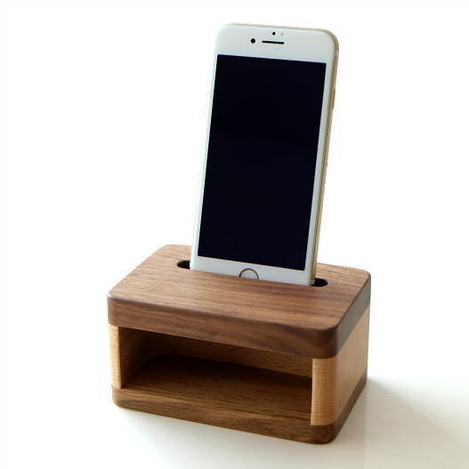 スマホスピーカー 木製 スマホスタンド 充電しながら 置くだけ シンプル おしゃれ ウッドスマホスピーカー [map4561]