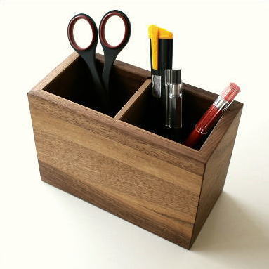 ペン立て ペンスタンド 木製 おしゃれ インテリア 天然木 ウォールナット ナチュラルウッドのペンたて B [map4814]