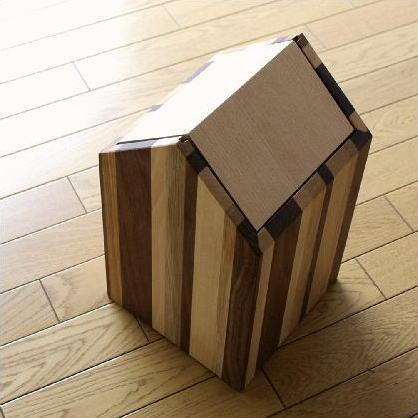 ごみ箱 木製 天然木 おしゃれ シンプル スイング インテリア ナチュラルウッドのダストボックス ハウスB 【送料無料】 [map7222]