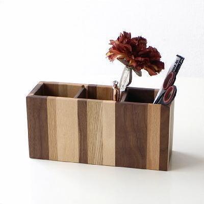 ペン立て 木製 おしゃれ シンプル デザイン ナチュラルウッドのモザイクペンたてL