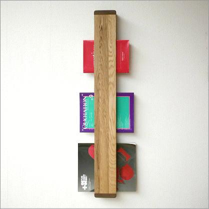 マガジンラック 木製 壁掛け おしゃれ スリム ナチュラルウッドのウォールマガジンラック