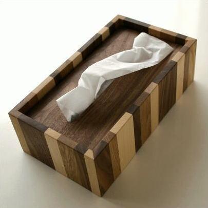ティッシュケース 木製 おしゃれ ボックス シンプル ナチュラルウッドのモザイクティッシュボックス [map7788]