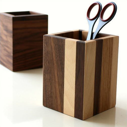 ペン立て 木製 ペンスタンド おしゃれ 天然木 無垢 シンプル かわいい 鉛筆立て リモコンスタンド メガネスタンド ナチュラルウッドのペンたて スクエア2タイプ [map8180]