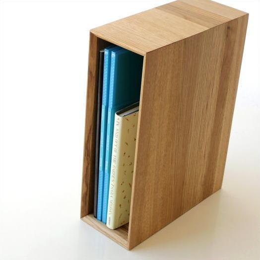 ファイルボックス ファイルスタンド A4 おしゃれ 木製 無垢材 ファイルラック タテ型 縦型 ファイル収納 ナチュラルウッドのアーカイブボックス オーク [map8250]