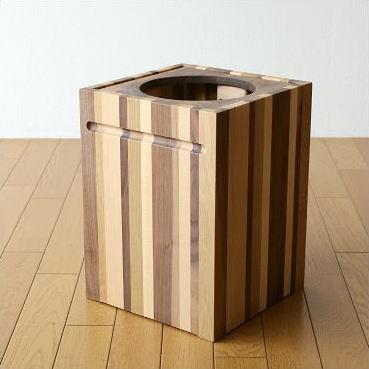 ゴミ箱 ごみ箱 木製 おしゃれ デザイン インテリア 天然木 ナチュラルウッドのスクエアダストボックス モザイク【送料無料】