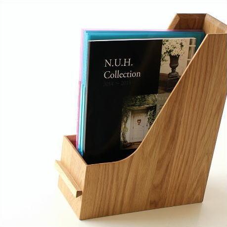 ファイルボックス A4 おしゃれ 木製 無垢材 ファイルラック タテ型 縦型 ファイル収納 卓上 机上 書類整理 ナチュラルウッドのファイルスタンド オーク [map8566]