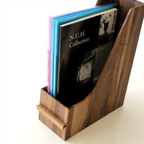 ファイルボックス A4 おしゃれ 木製 無垢材 ファイルラック タテ型 縦型 ファイル収納 卓上 机上 書類整理 ナチュラルウッドのファイルスタンド ウォルナット [map8567]