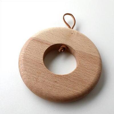 鍋敷き おしゃれ 木製 ビーチ 木の鍋しき サークルB [map8612]