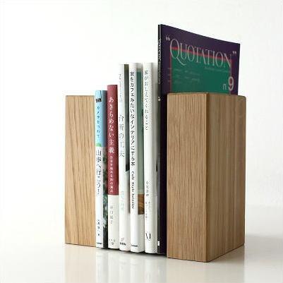 本立て ブックスタンド 木製 おしゃれ 天然木 インテリア ナチュラルウッドのブックエンド オーク [map8841]