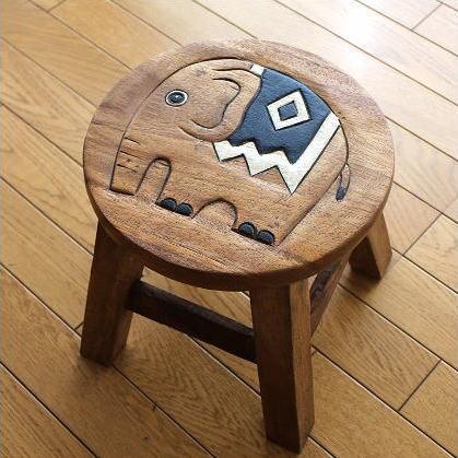 ゾウの木製ミニスツール かわいい 小さい椅子 観葉植物 花台 ミニテーブル 置き台 アジアン雑貨 子供椅子 象さん