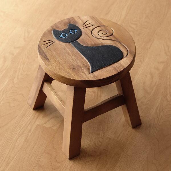 スツール 木製 椅子 ミニスツール 玄関 花台 ミニテーブル ウッドチェア おしゃれ 子供椅子 ネコさん [maz5471]