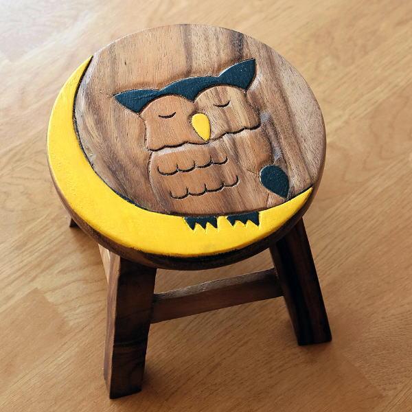 スツール 木製 椅子 ミニスツール 玄関 花台 ミニテーブル ウッドチェア おしゃれ ふくろう 梟 子供椅子 みみずくさん [maz6523]