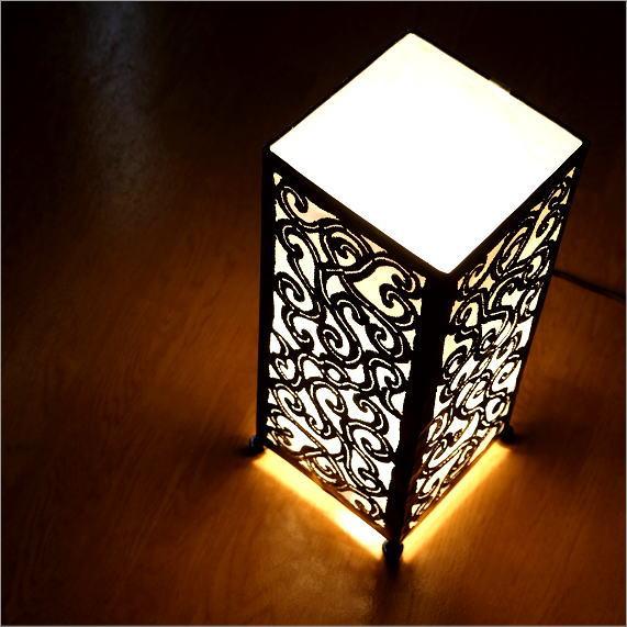 フロアスタンド スタンド照明 スタンドライト フロア照明 フロアライト 布 間接照明 アジアン リビング 寝室 玄関 おしゃれ アイアンカットワーク角ランプS