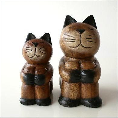猫 置物 ねこ 木彫り 雑貨 親子ネコのドキドキ運動会