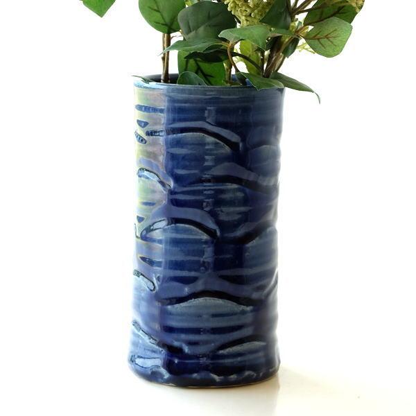 花器 陶器 おしゃれ 花瓶 フラワーベース 和風 玄関 瀬戸焼 青釉円柱花入れ [mkn0832]