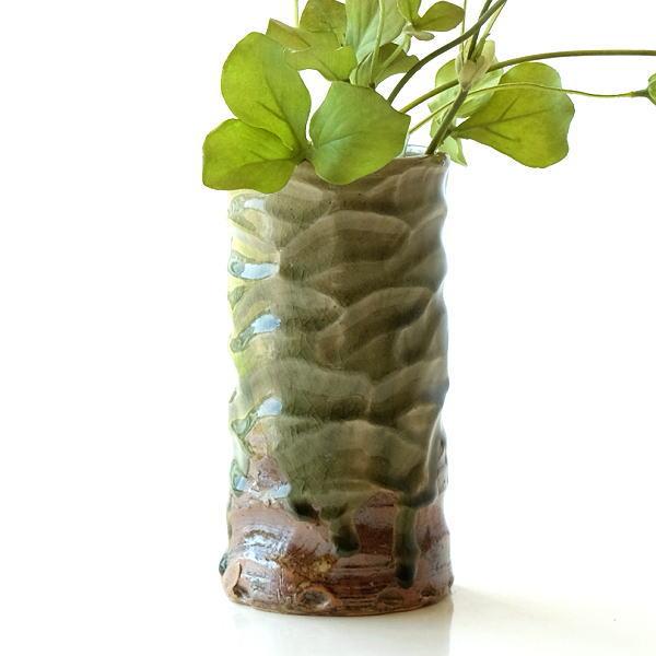 花器 陶器 おしゃれ 花瓶 フラワーベース 和風 玄関 瀬戸焼 灰釉円柱花入れ [mkn0834]