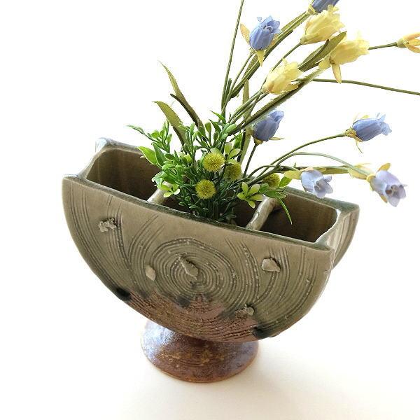 花瓶 陶器 フラワーベース 和風 おしゃれ 花器 日本製 瀬戸焼 灰釉三つ切輪立花入れ [mkn0837]