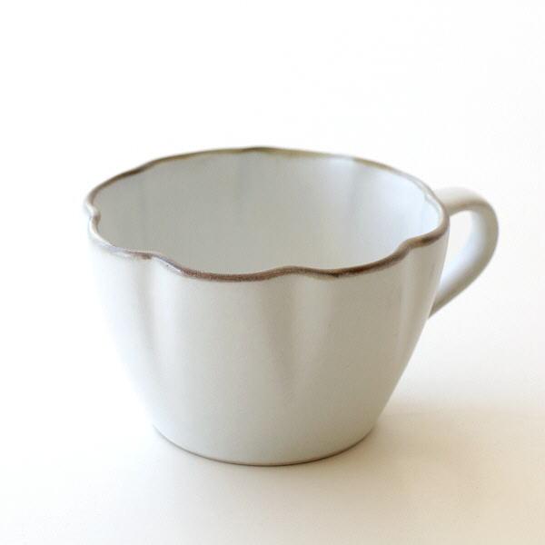 マグカップ コップ おしゃれ かわいい 陶器 シンプル 日本製 お花 白 無地 コーヒーカップ 焼き物 和食器 りん花ホワイトマグカップ [mkn2204]