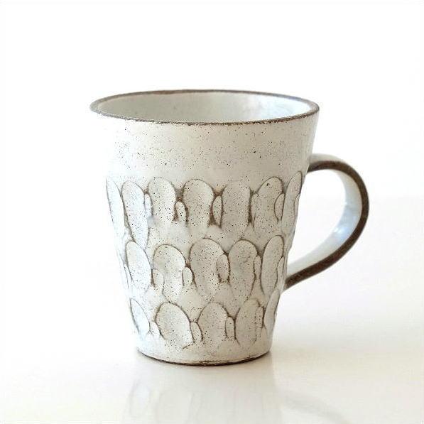 マグカップ おしゃれ 陶器 信楽焼 コーヒーカップ モダン 和風 和モダン レトロ 日本製 焼き物 粉引重彫マグ [mkn4338]
