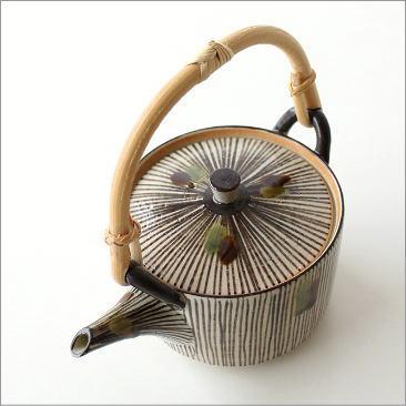 土瓶 瀬戸赤津焼 急須 きゅうす おしゃれ 日本製 天然竹つる 錆十草織部土瓶