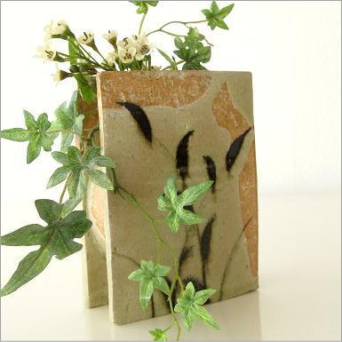 花瓶 陶器 花器 フラワーベース 和陶器ベース 鉄絵草文