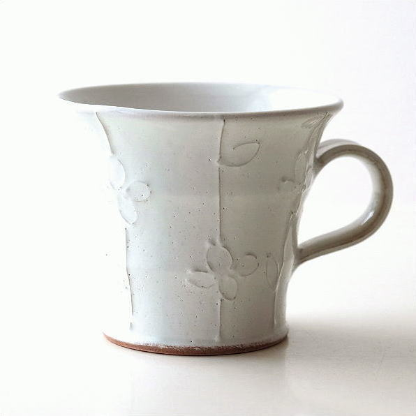 マグカップ おしゃれ 陶器 和モダン コーヒーマグ コーヒーカップ 日本製 焼き物 瀬戸焼 粉引きマグ 花の木 [mkn6470]