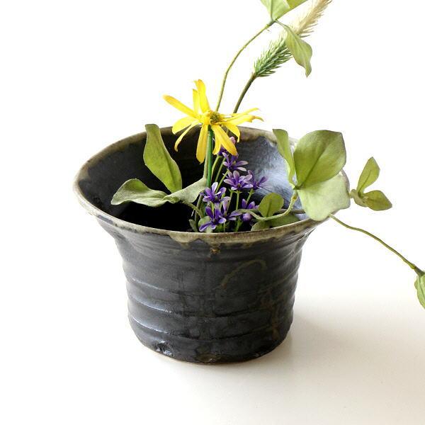 花瓶 陶器 瀬戸焼 日本製 花瓶 おしゃれ 和風モダン インテリア ベース 花入れ 黒釉円形花入れ [mkn8399]