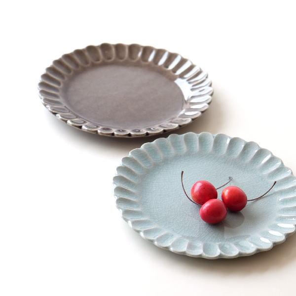 お皿 プレート おしゃれ 可愛い シンプル 瀬戸焼 日本製 焼き物 20cm 花かさねプレート 2カラー [mkn9138]
