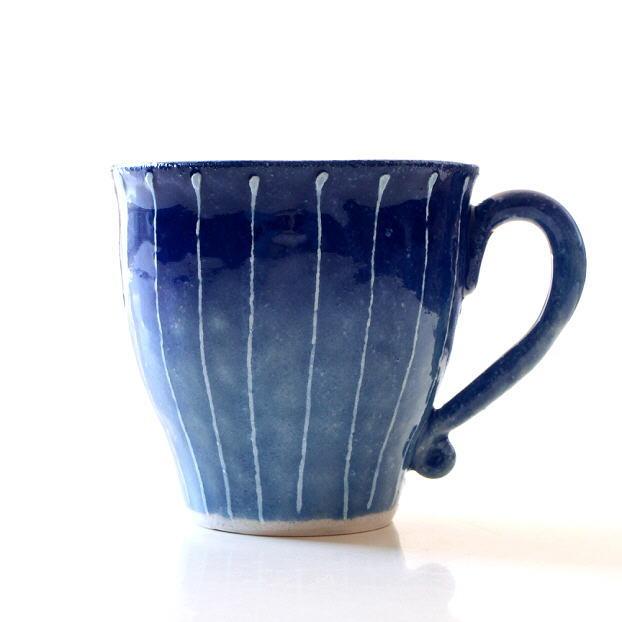 マグカップ 陶器 おしゃれ 和モダン 日本製 焼き物 瀬戸焼 藍彩十草マグ [mkn9450]